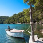 forest and the Big lake of national park on island Mljet