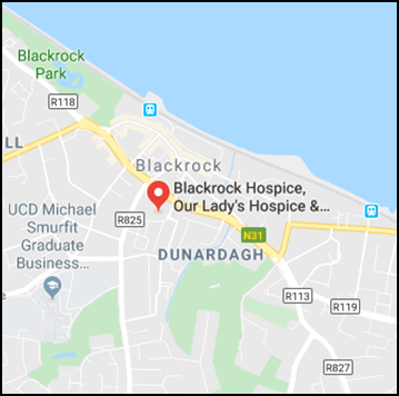 Map showing Blackrock Hospice, click to enlarge